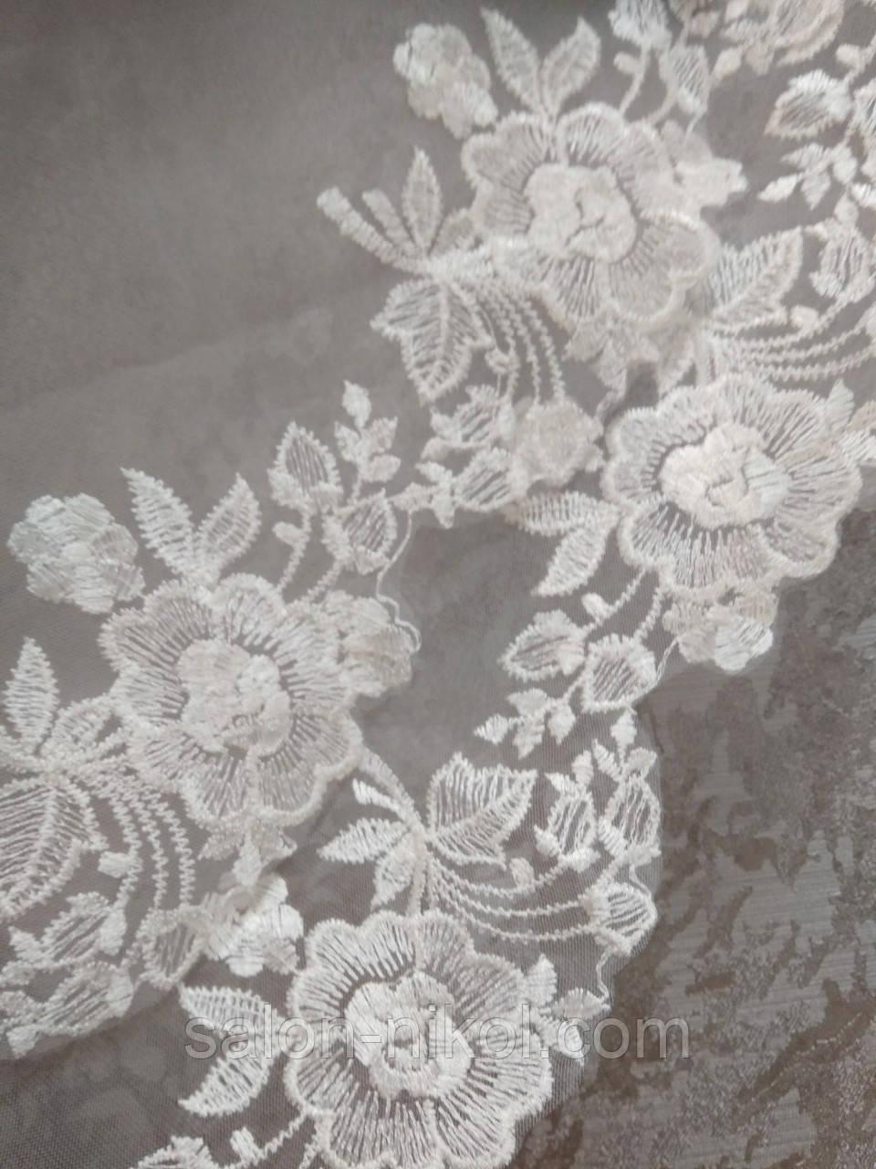 Фата с вышивкой № 5007 (1,5*1,5 м) стандартная айвори