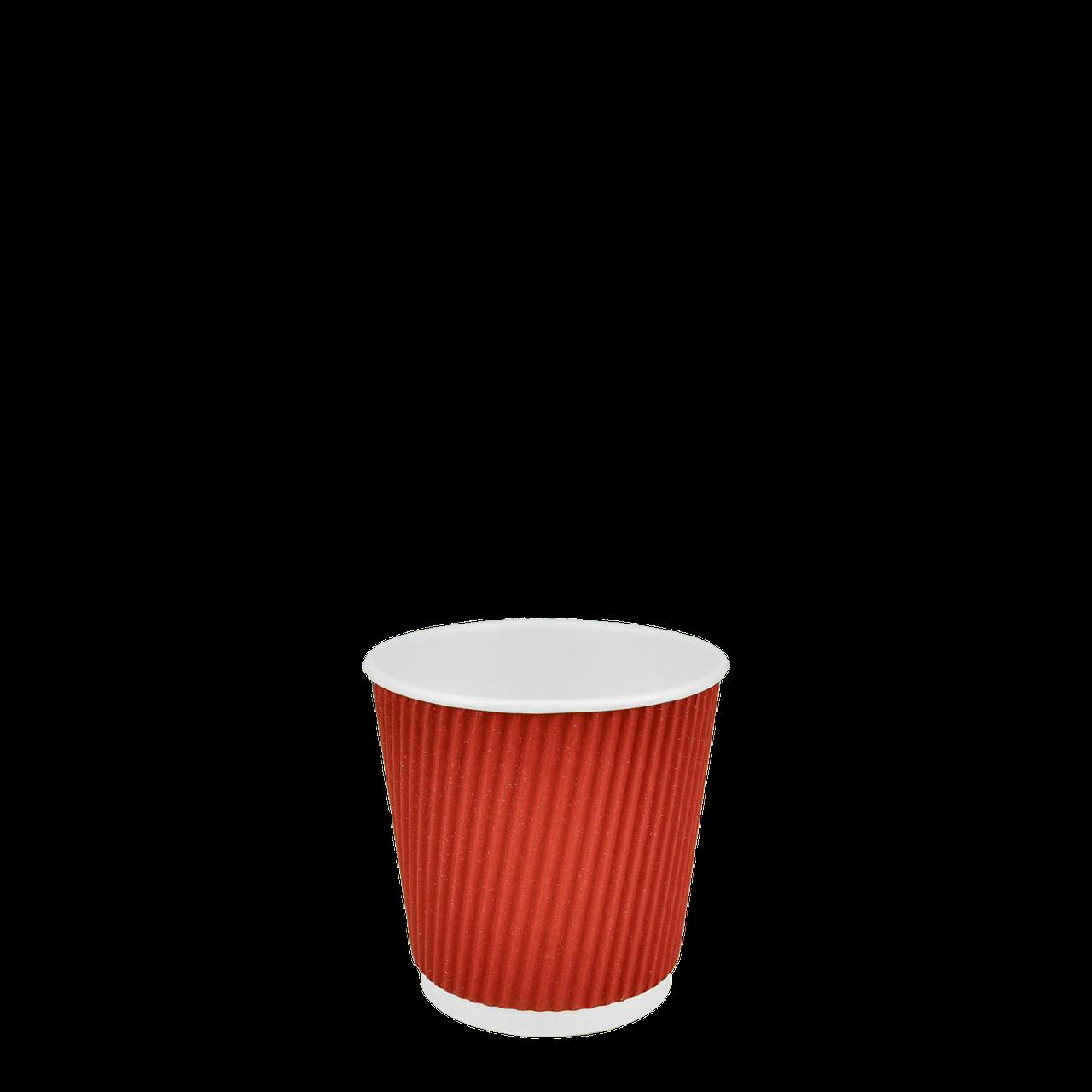 Стакан бумажный гофрированный Красный 180мл. 30шт/уп (1ящ/35уп/1050шт)