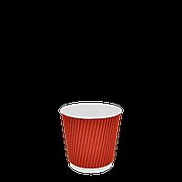 Стакан бумажный гофрированный Красный 180мл. 30шт/уп (1ящ/35уп/1050шт), фото 1