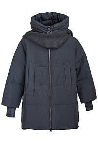 Женская стеганная куртка с шарфом на зиму, 29189