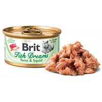 Brit Fish Dreams консервированный корм для котов Тунец и кальмар 80г
