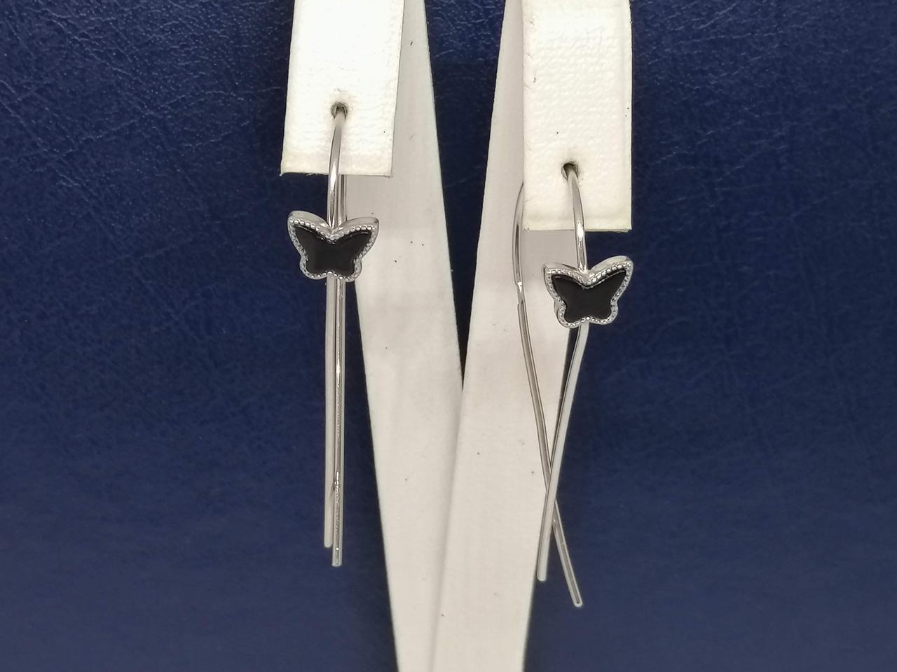 Срібні сережки з оніксом. Артикул С20/1424