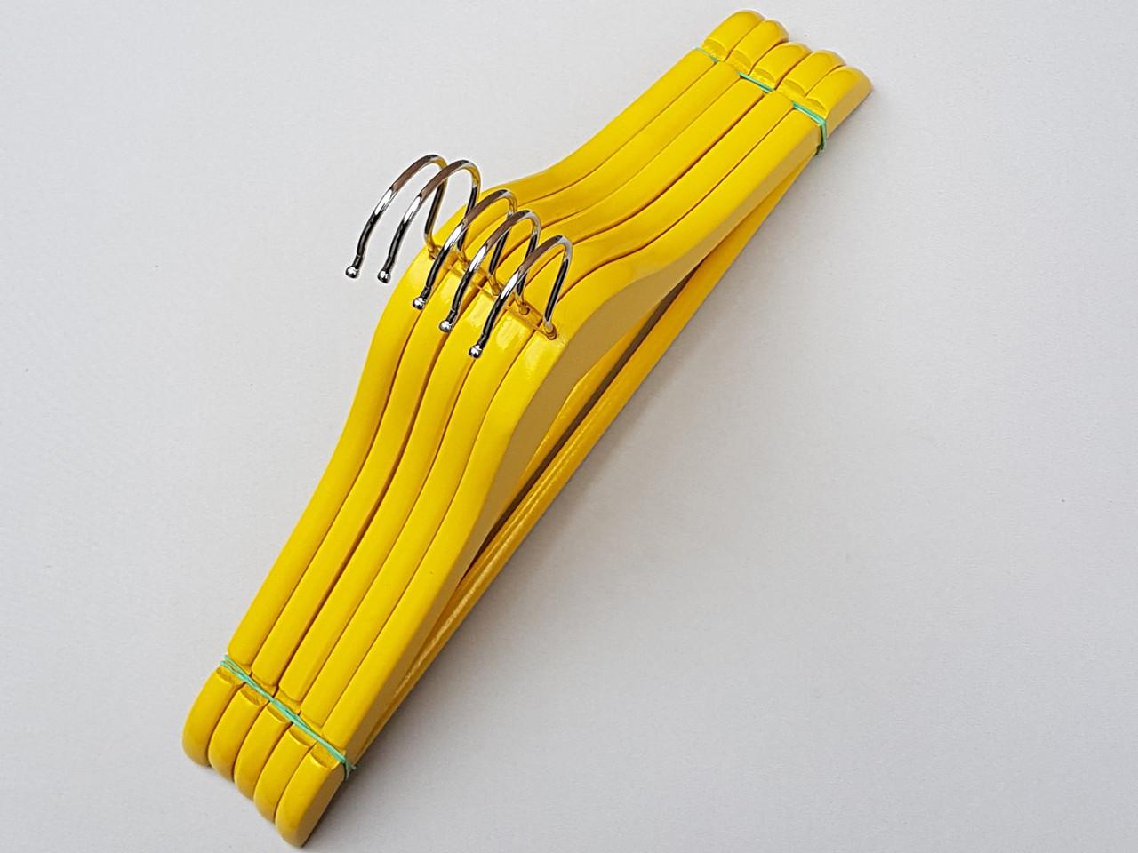 Длина 38 см. Плечики детские деревянные желтого цвета, 5  штук в упаковке