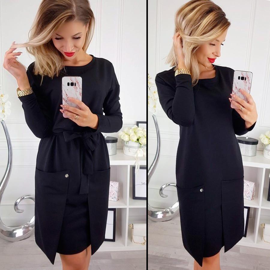Черное трикотажное платье (Код MF-195)