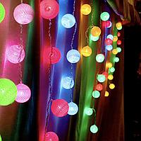 Новогодняя гирлянда тайские фонарики: 10 LED шариков, длина 2 метра