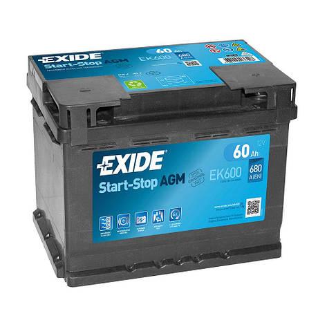 EXIDE 6СТ-60 АзЕ START-STOP AGM EK600 Автомобильный аккумулятор, фото 2