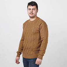 Джемпер мужской теплый, связанный модной вязкой араном