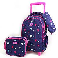 9360 Набор мягкий детский рюкзак-чемодан  на 2 колесах, сумка,  пенал Сердечки для девочки.