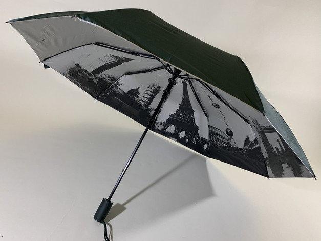 Зонт женский с городами под куполом на 9 спиц цвет зелёный