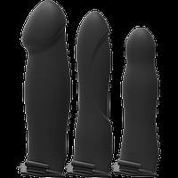 Набор для страпона с вибрацией с тремя силиконовыми насадками Doc Johnson Body Extensions - BE Naughty - Black 10 функций вибрации. Страпоны с, фото 1