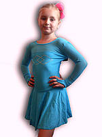 Купальник гимнастический эластик с юбкой голубой Rivage Line 960B