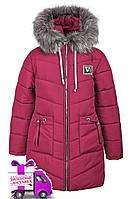 Зимняя удлиненная куртка на девочку на овчине курточка детская зима 8-11 лет лиловая