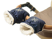 Темно-синяя муфта рукавички на коляску для рук мамы коляски Польша муфты на овчине варежки зимние к