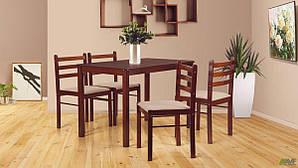 Стол и стулья обеденные AMF Брауни деревянные темный шоколад-латте
