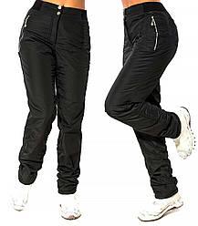Зимние штаны плащевка, теплые брюки женские на флисе черные