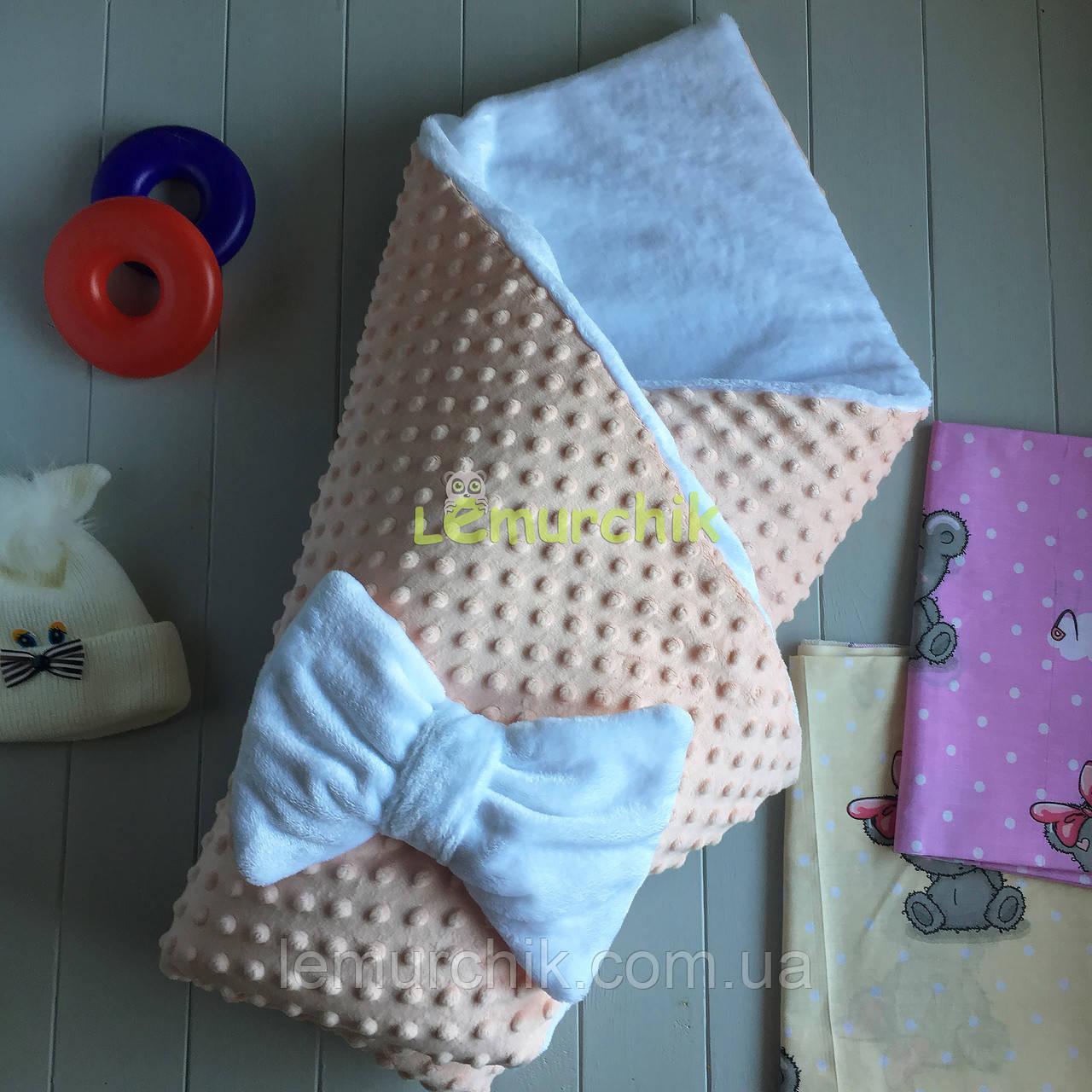 Конверт-одеяло минки на махре, персиковый