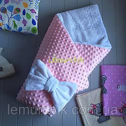 Конверт-одеяло минки на махре, розовый