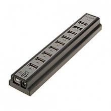 Хаб разветвитель концентратор MTK USB 2.0 на 10 портов с блоком питания