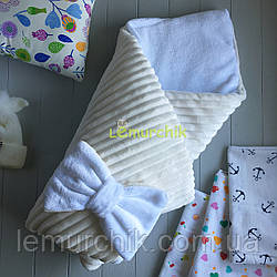 Конверт-одеяло минки на махре, молочный