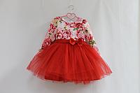 Нарядное платье на девочку с рукавами и пышным низом красного цвета № 43