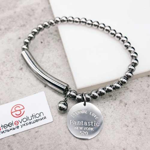 Эластичный браслет-бусы из стали женский 6 см 172451