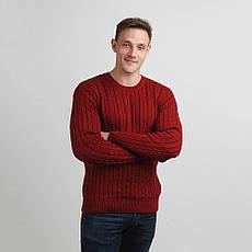 Джемпер мужской теплый, связанный классической вязкой косичкой