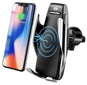 Автодержатель для телефона WUW W08 Smart sensor Wireless Charger + Беспроводная зарядка Серебристый (WUW, фото 2