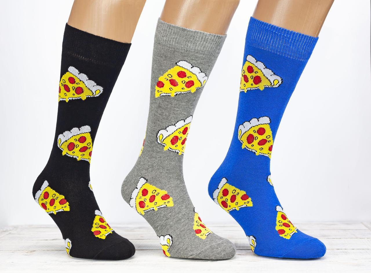 Носки чоловічі Benisa високі шкарпетки стрейчеві  з малюнком шматки піци розмір 41-46 12 шт уп мікс 3 кольорів