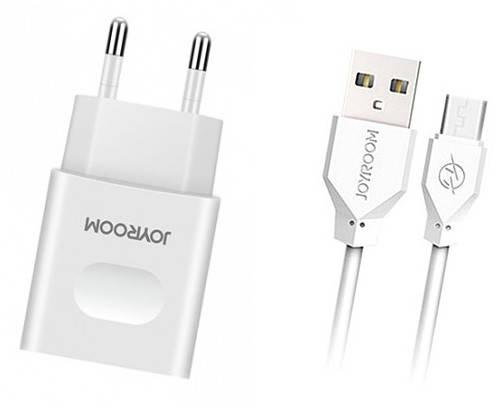 Зарядний пристрій JOYROOM L-L221 UM2 + Micro USB кабель (EU) USBx2  Білий, фото 2