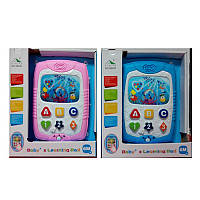 Планшет детский 6047 17,5 см, музыка, звук, свет, 2 цвета, на батарейке