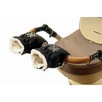 Черная муфта рукавички на коляску для рук мамы коляски Польша муфты на овчине варежки зимние к