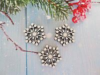 """Новогодний деревянный декор """"Снежинка"""", d-30 мм, цвет белый, 1шт."""