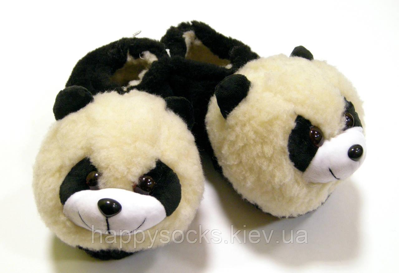 """Женские тапочки на меху """" Панда"""" из овечьей шерсти"""