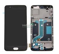 Модуль OnePlus 5 black с рамкой дисплей экран, сенсор тач скрин