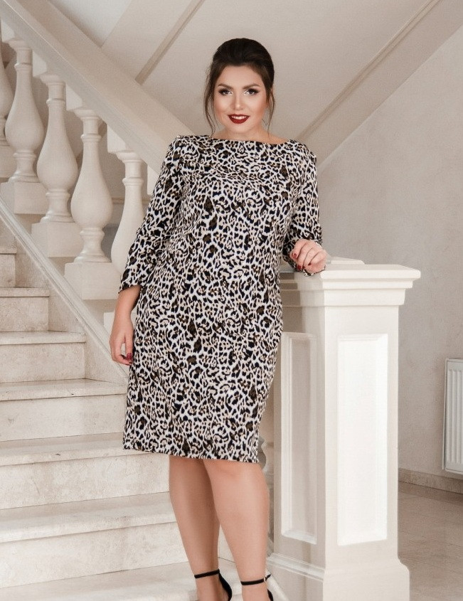 Леопардовое платье батал 50,52,54,56