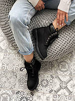 Женские зимние ботинки в стиле Timberland 6 Inch Premium Black (Без меха, натуральный нубук)