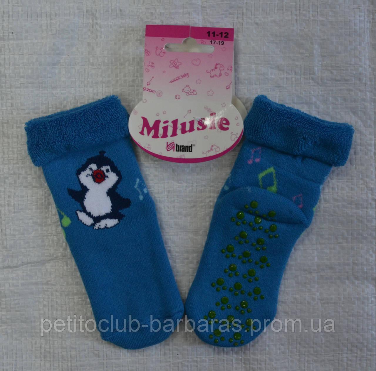 Шкарпетки махрові для новонароджених Пінгвін з ABS гальмами р. 11-12 (Brand, Польща)