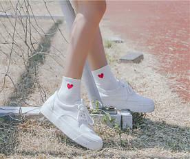 Носки Cotton Sox Сердце - средние - белые