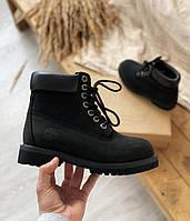 Мужские зимние ботинки в стиле Timberland 6 Inch Premium Black (Без меха, натуральный нубук)