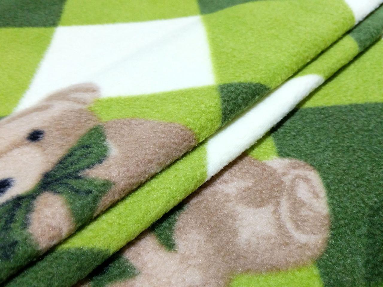 Флис рисунок мишка, зеленый