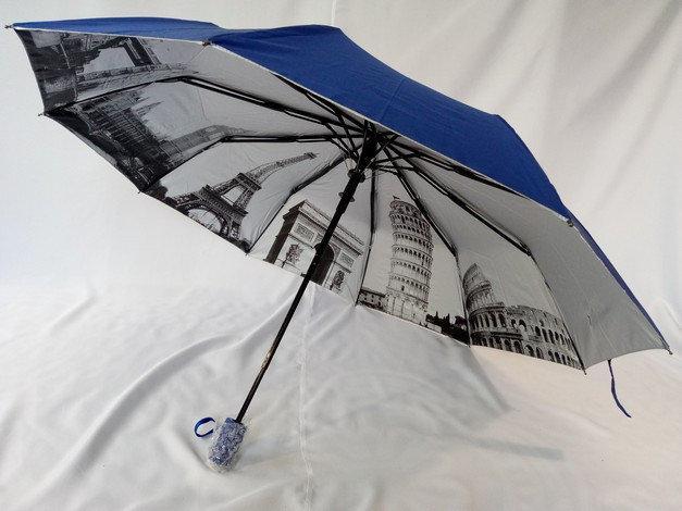 Синий зонт полуавтомат с серебристым напылением и городами 10 спиц