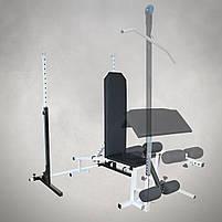 Лавка з від'ємним кутом (до 250 кг) + Стійки під штангу (до 200 кг), фото 3