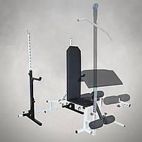 Лавка з від'ємним кутом (до 250 кг) + Стійки під штангу з страховкою (до 200 кг), фото 3