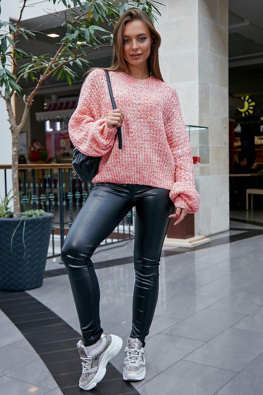 Женский свитер персиковый нарядный, р.42-48, вязка