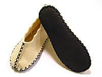 Войлочные тапочки ручной работы шерстяные с темно-синим шнурком, фото 1