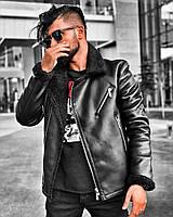Стильная мужская кожаная куртка черная на меху (зима). Размеры (S,XХL)