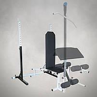 Лавка з від'ємним кутом (до 250 кг) + Стійки під штангу (до 250 кг), фото 3