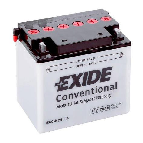 EXIDE 6СТ-28АзЕ E60-N24L-A Мото аккумулятор, фото 2