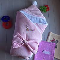 Конверт-одеяло на махре с капюшоном и бубончиком, розовый