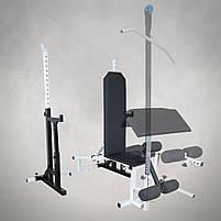 Лавка з від'ємним кутом (до 250 кг) + Стійки під штангу з страховкою (до 250 кг), фото 3